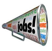 Jobs Bullhorn Megaphone Career Work Employment — Stock Photo