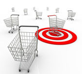 One Shopping Cart Buyer Targeted Marketing Unique Customer — Stock Photo