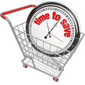 Time to Save Clock in Shopping Cart — Stock Photo