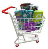 Apps - Application Software Icons in Shopping Cart — Stock Photo