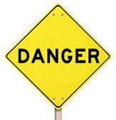 Yellow Warning Sign - Danger - Isolated — Stock Photo