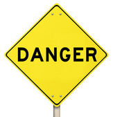 Yellow Warning Sign - Danger - Isolated — Stock Photo