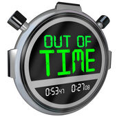 Out of Time Words on Stopwatch Ending Completed Finish — Stock Photo