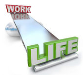 Work Versus Life Balance on See-Saw Scale — Stock Photo