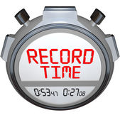 Record Time Stopwatch Displays Best Time Ever — 图库照片