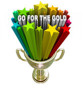 Go for the Gold Trophy Positive Attitude and Ambition — Stock Photo