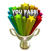 You Pass Stars Gold Trophy Accepted Approved — Stock Photo