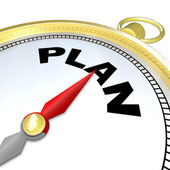Plan Word on Compass Strategy Direction to Goal — Stock Photo