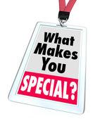 Ce qui vous rend unique personne différente de badge spécial — Photo