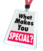 O que te faz uma pessoa diferente exclusivo do distintivo especial — Foto Stock