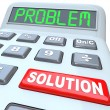 Stockfoto: Calculator Words Problem Solution Solved Answer