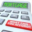 Mortgage What Can You Afford - Words on Calculator - Foto Stock