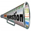 Stock Photo: Question Megaphone Bullhorn Asking for Answers