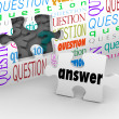 Foto Stock: Question Wall Puzzle Piece Answer Complete Understanding