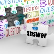 Foto de Stock  : Question Wall Puzzle Piece Answer Complete Understanding