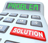 αριθμομηχανή λέξεις λύση πρόβλημα λυθεί απάντηση — Φωτογραφία Αρχείου