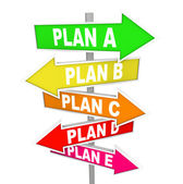Many Plans Rethinking Strategy Plan A B C SIgns — Stockfoto