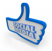 Social Media Words Blue Thumbs Up Community Network — Stock Photo