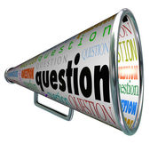 Question Megaphone Bullhorn Asking for Answers — Stockfoto
