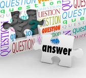 Fråga vägg pussel bit svar fullständig förståelse — Stockfoto