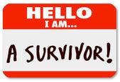 Hallo ben ik een overlevende naamplaatje overleven ziekte doorzettingsvermogen — Stockfoto