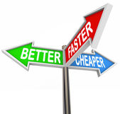 Better Faster Cheaper Three Benefits Features Signs — Zdjęcie stockowe