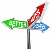 Bättre snabbare billigare tre fördelar funktioner tecken — Stockfoto