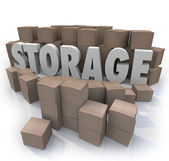 Storage Word Piles Cardboard Boxes Basement Locker — Stock Photo