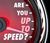 Are You Up to Speed Question Speedometer — Stock Photo