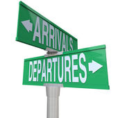 Arrivals Departures Two Way Street Signs — Stock Photo