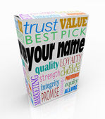 Your Name Product Box Package Marketing Reputation of You — Stock Photo