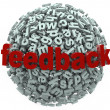 Feedback 3D Sphere Letters Input Comments — Foto Stock