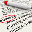 Mission Word Dictionary Definition Red Marker - Stock Photo