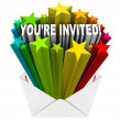 You're Invited Words Invitation Stars Envelope - Zdjęcie stockowe