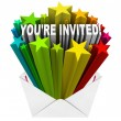 You're Invited Words Invitation Stars Envelope — Zdjęcie stockowe