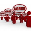 Stock Photo: Agree Word Speech Bubbles Group Agreement