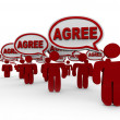 Agree Word Speech Bubbles Group Agreement — Stock Photo