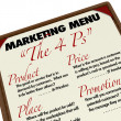 Marketing Menu Four Ps 4 Core Essentials Market Plan — Stock Photo