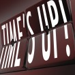 Time's Up Words Retro Clock Flipping Tiles Deadline — Stock Photo