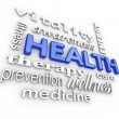 Health Care Collage Words Medicine Background — Foto Stock