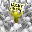 Bright Idea Person Holding Sign New Plan Suggestion - Stock Photo