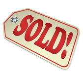 Sold Word Price Tag Unavailable Out of Stock Product — Stock Photo