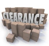 Clearance Sale Inventory Boxes Stockroom — Stock Photo