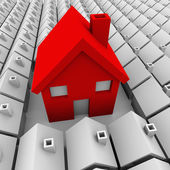Jeden velký dům mnoho malých domů největší výběr — Stock fotografie