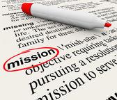 Missie woord woordenboek definitie rode marker — Stockfoto