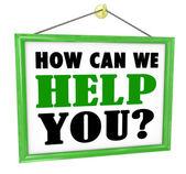 Comment pouvons-nous aider vous pendre magasin signe utile service — Photo