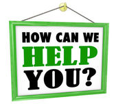 How Can We Help You Hanging Store Sign Helpful Service — Photo