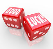 Good Luck Red Dice Words Favorable Fortune — Stock Photo
