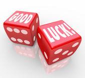Rouge bonne chance dés fortune favorable de mots — Photo