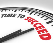 Time to Succeed Words on Clock Successful Goal — Photo